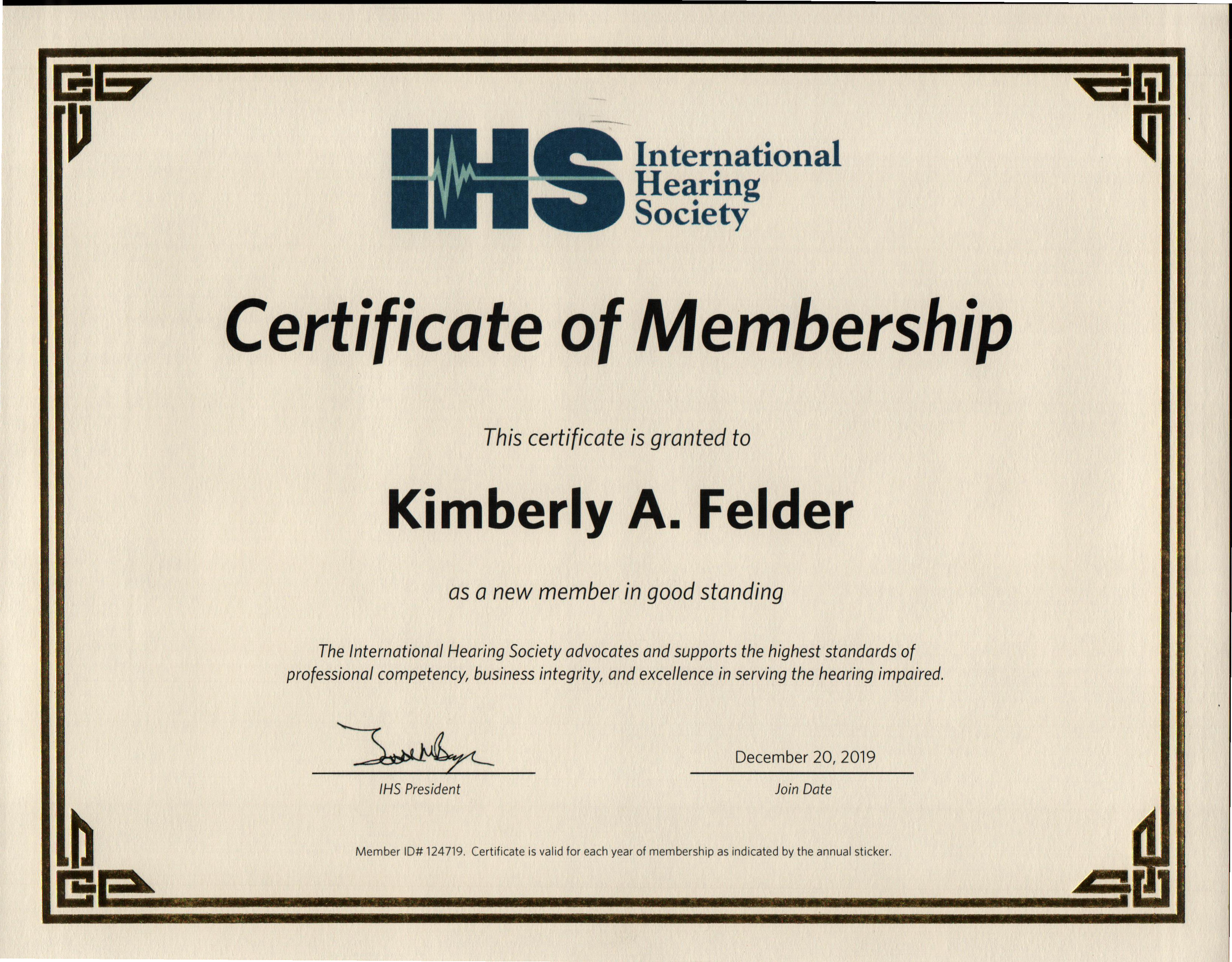 Kimberly Felder's International Hearing Society Certificate