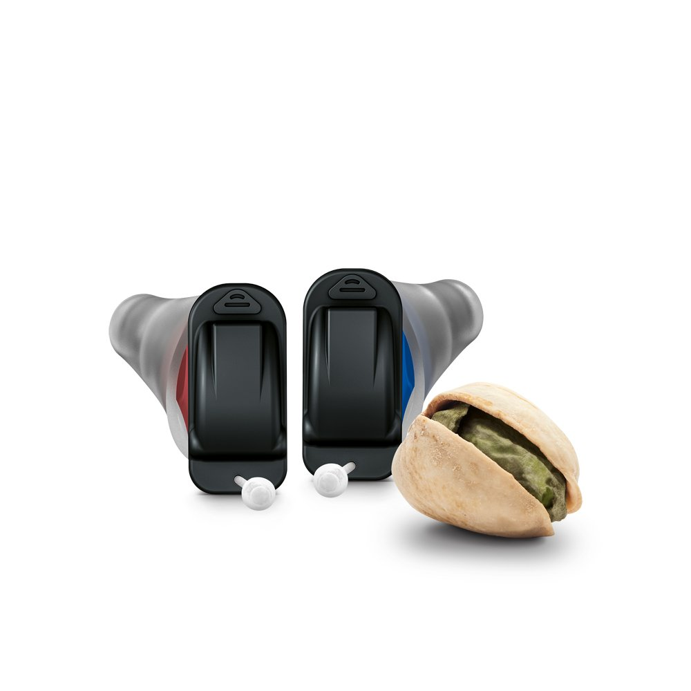 Signia Silk Hearing Aid Size comparison with a pistachio nut