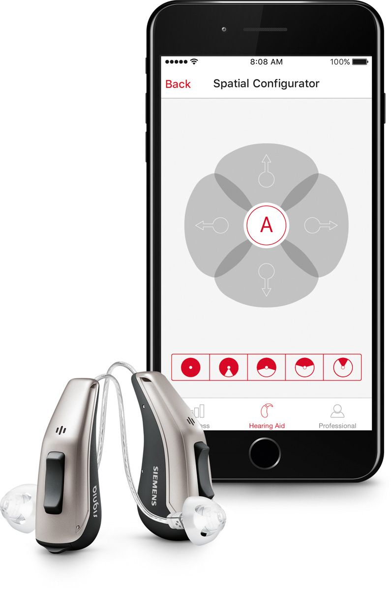 Hearing aids with a smartphone displaying an app. They sync with Bluetooth technology.