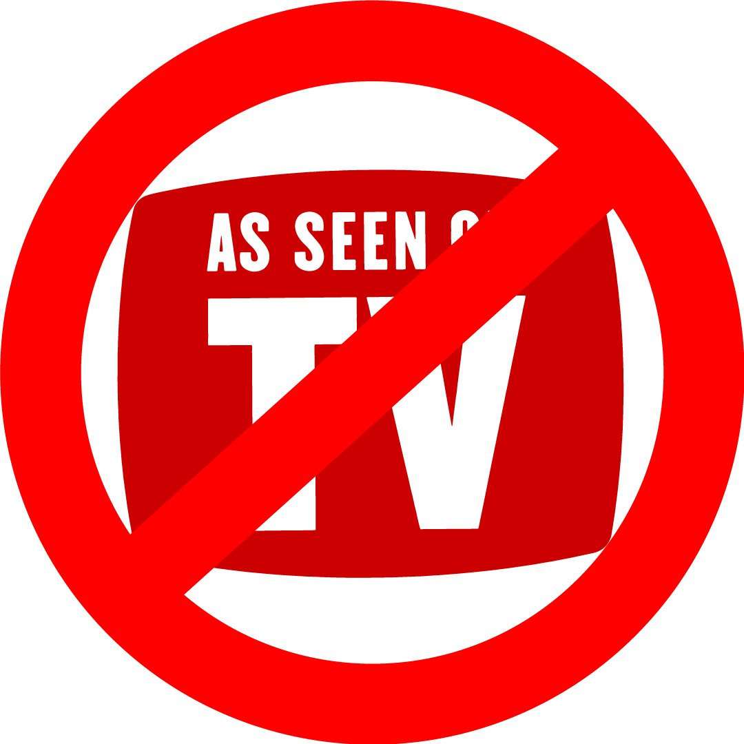 As Seen on TV logo crossed out